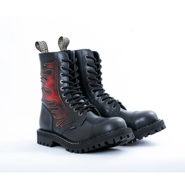 Steel 10 Eyelet Boots Flames With Screw Sole