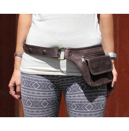 Burning Man Hip Belt Bag Fanny Pack Leather Utility Belt Dark Brown
