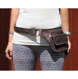 Festival Hip Belt Bag Fanny Pack Leather Utility Belt Dark Brown