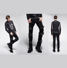 Mens Black Industrial Goth Punk Pants Rivet Strap Rocker Jeans Free To Ship
