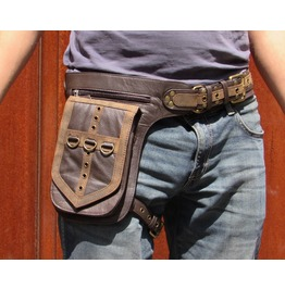 One Leaf Leather Holster Utility Belt Thigh Bag Twin Tone Brown