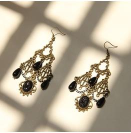 Handmade Black Lace Rhinestone Gothic Earring Er 1