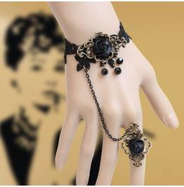 Handmade Black Lace Flower Gothic Bracelet And Ring Nk 1