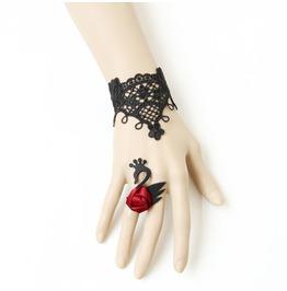 Handmade Black Lace Red Flower Black Swan Gothic Bracelet Ring Nr 1