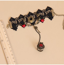 Handmade Black Lace Red Jewelry Gothic Bracelet Ws 261