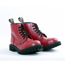 Steel 6 Eyelet Boots Red With Screw Sole