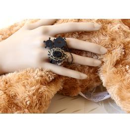 Handmade Black Jewelry Wheel Gear Gothic Ring R 1