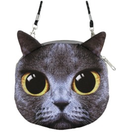 Adorable Kitten Print Cheshire Grumpy Cat Purse