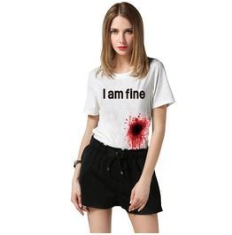 "Fashion New Men/Women's Tee Shirt Print ""I'm Fine"" Blooded Funny T Shirt"