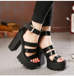 Black/White Summer High Wedge Heel Platforms