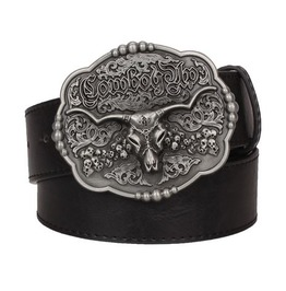 Steampunk Men's Belt With Vintage Bull's Head Buckle