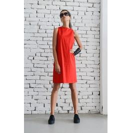 Red Short Summer Dress/Sleeveless Casual Midi Dress/Loose Long Top