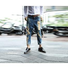 Baggy Fit Vintage Men's Denim Destroyed Jeans / Blue Jeans /
