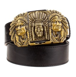 Steampunk Men's Belt With Three Indian Buckle Gold Tone