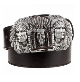 Steampunk Men's Belt With Three Indian Buckle Silver Tone