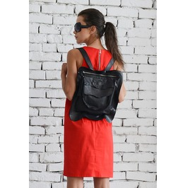 Black Leather Backpack/Extravagant Black Small Handbag/Avantgarde Backpack