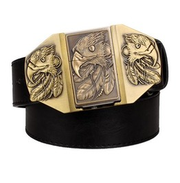 Steampunk Men's Belt With Three Eagle Buckle Gold Tone