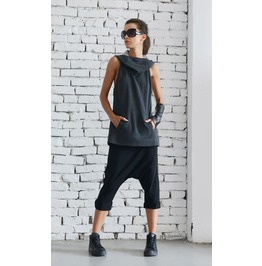 Dark Grey Hooded Top/Extravagant Summer Vest/Casual Tunic With Hood
