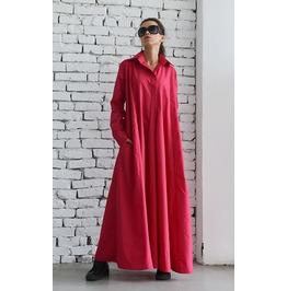 Fuschia Shirt Dress/Oversize Loose Kaftan/Long Sleeve Dress