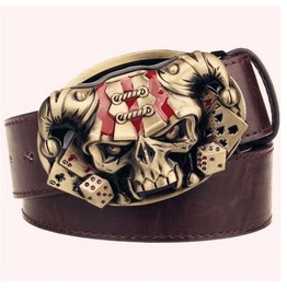 Steampunk Men's Belt With Gold Skull Buckle