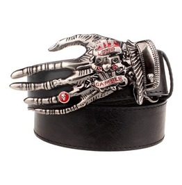 Steampunk Men's Belt With Scary Skull Hand Buckle Serie 2