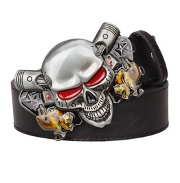 Steampunk Men's Belt With Red Eye Skull Buckle