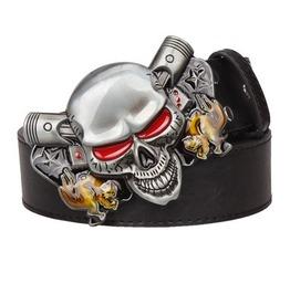 Steampunk Men's Belt With Red Eye Skull Buckle