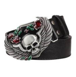Steampunk Men's Belt With Wing Skull Buckle
