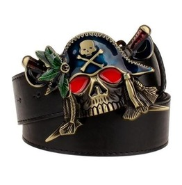 Steampunk Men's Belt With Red Eye Skull Pirate Buckle