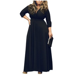 Full Length Women's Elegant Plus Size V Neck 3/4 Sleeve Dress