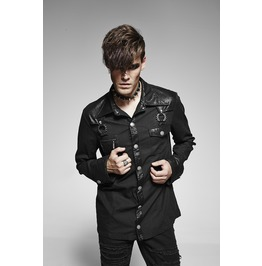 Mens Fetish Black Bamboo Goth Long Sleeve Faux Leather Punk Dress Shirt