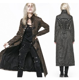 Ladies Gray Brown Long Jacket Steampunk Huntress Trench Coat Free To Ship