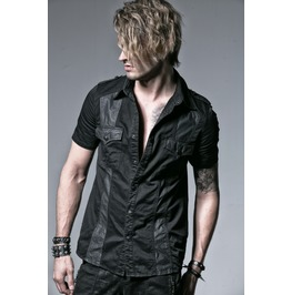 Mens Military Cotton Vegan Leather Black Short Sleeve Punk Goth Shirt