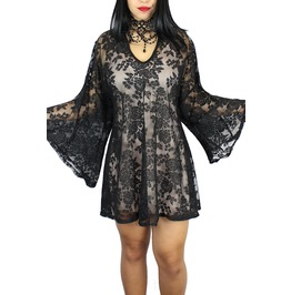 Sexy Gothic Lace Overlay Punk Festival Steampunk Kimono Tunic Dress