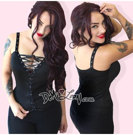 Sexy Lace Up Gothic Punk Festival Biker Tattoo Diy Steampunk Tank Top