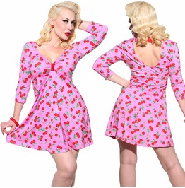 Sexy Cherry 3/4 Sleeve Graphic Pinup Rockabilly Vtg Inspried 50's Dress