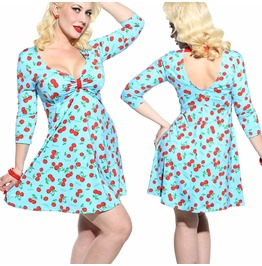 Sexy Retro Cherry Vtg Inspired Pinup Rockabilly Graphic 50's Festival Dress