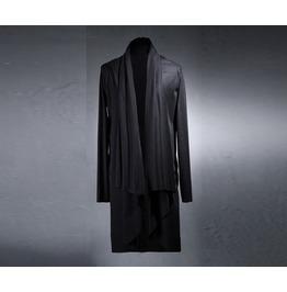 Men's Gothic Avant Grade Rib Front Drape One Size Cardigan
