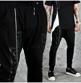 Long Zipper Accent Black Baggy Sweatpants 183
