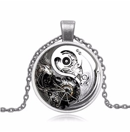 Vintage Steampunk Glass Cabochon Yin Yang Gear Pendant Necklace
