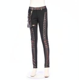 Steampunk Faux Leather Women's Pants With Detachable Waist Bag B157