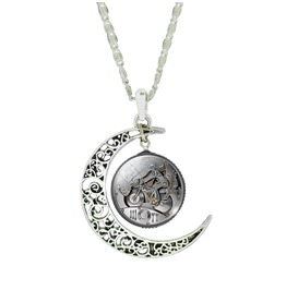Vintage Steampunk Filigree Moon Shape Glass Cabochon Gear Pendant Necklace