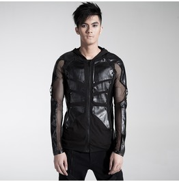 Mens Black Skeleton Faux Leather Mesh Sleeve Gothic Punk Hoodie $9 To Ship