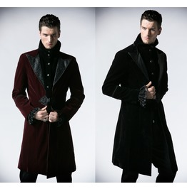 Mens Red Or Black Velvet Lestat Vampire Jacket Gothic Victorian Coat