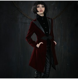 Ladies Red Or Black Velvet Lestat Vampire Jacket Gothic Victorian Coat