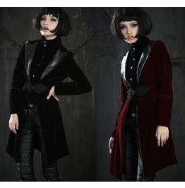 Ladies Black Velvet Lestat Vampire Jacket Gothic Victorian Coat Free Ship