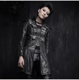 Ladies Black Grainy Dark Military Pleather Jacket Gothic Industrial 3/4 Coat