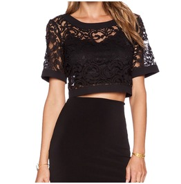 Short Sleeves Crochet Lace Crop Top