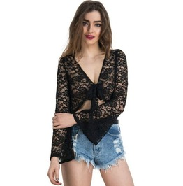 Sexy Deep Neck Long Floral Lace Sleeves Tie Up Crop Top