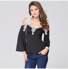 Off Shoulder Long Sleeves White Lace Black Top